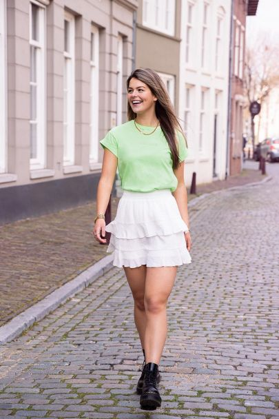 White skirt with layers and ruffles