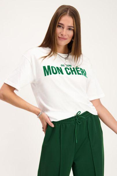 White T-shirt with green mon chéri text