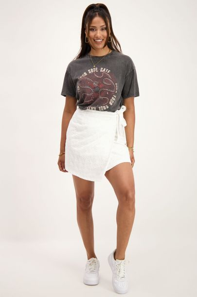 White wrap skirt with embroidery