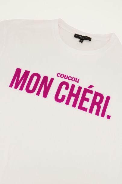 "Weißes T-Shirt mit lila Text ""Mon chéri"""