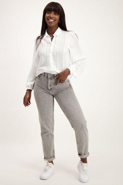 Witte blouse met verticaal structuur