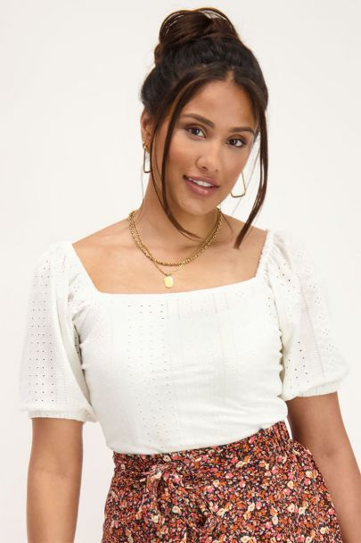 White off shoulder top with embroidery