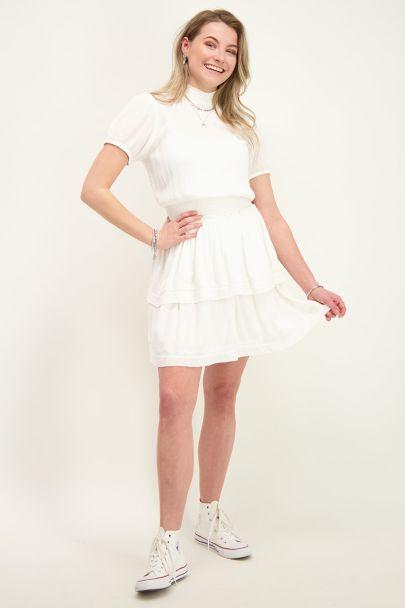 Witte viscose crinkle jurk met col