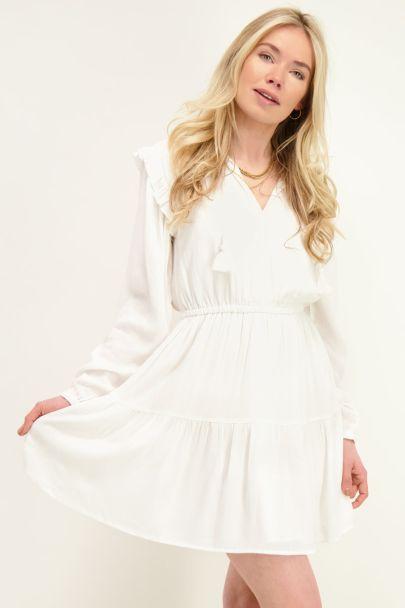 White viscose crinkle dress