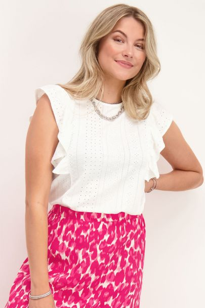 Witte top broderie