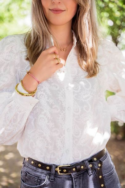 Witte blouse met embroidery