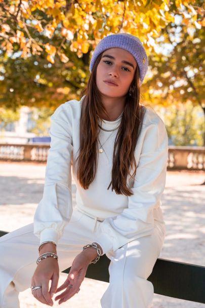Witte sweater met ballonmouwen