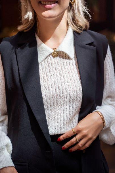 Witte trui met structuur & kraagje