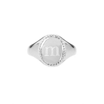 Silver initial letter signet ring, rings