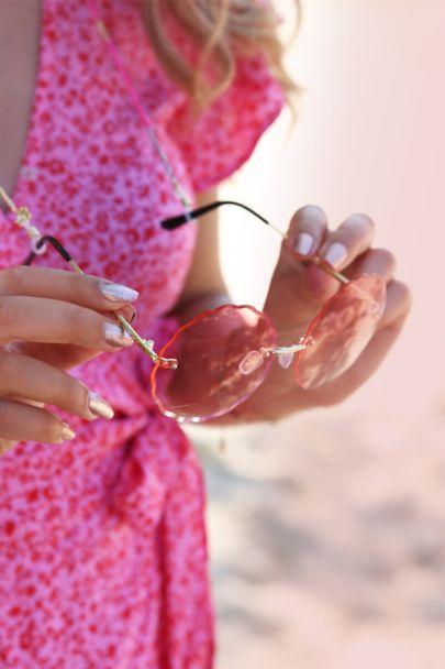 Zonnebril rond & roze glazen