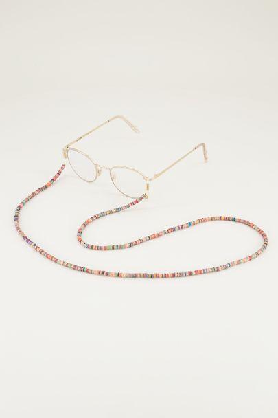 Multikleur zonnebrilkoord glitter kralen, zonnebrilkoordjes