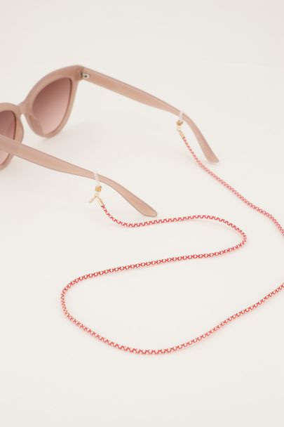 Rood zonnebrilkoord gedraaid touw