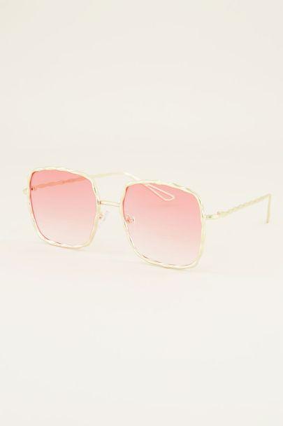 Roze zonnebril | Vierkante zonnebril | My Jewellery