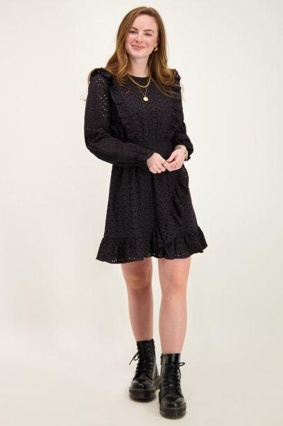 Black dress embroidery anglaise