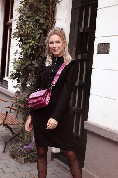 Zwarte trui-jurk met rits