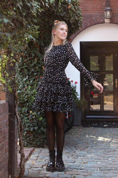 Zwart jurkje laagjes & multikleur print