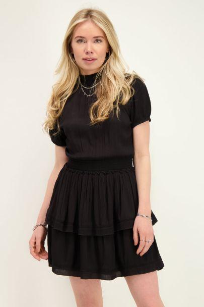 Zwarte viscose crinkle jurk met col