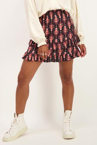 Black skirt with boho print
