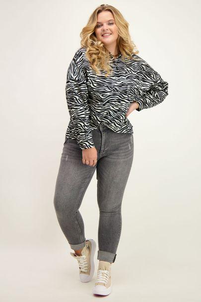 Zwart-witte blouse met zebra print