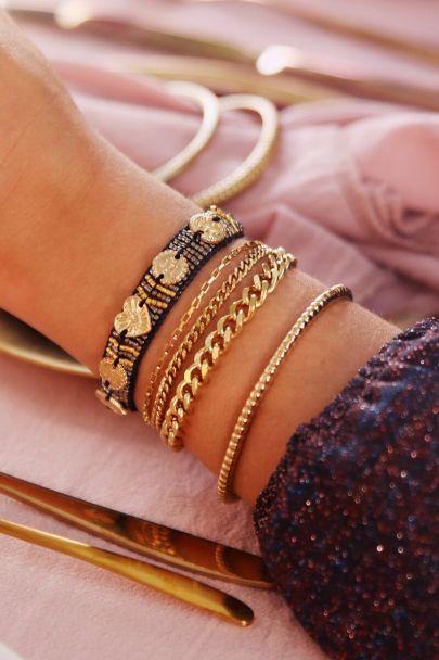 Zwarte armband bedels & kraaltjes