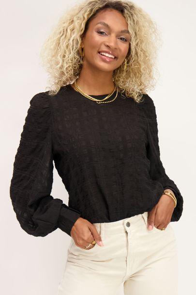 Zwarte blouse met ruiten