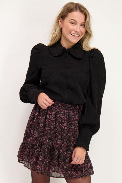 Zwarte blouse met corduroy