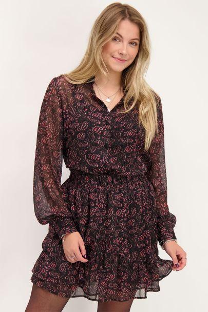 Zwarte blouse met paisley print