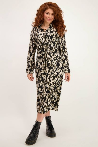 Black blouse dress with spotted print
