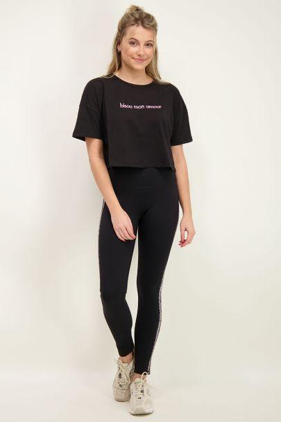 Black crop T-Shirt bisou