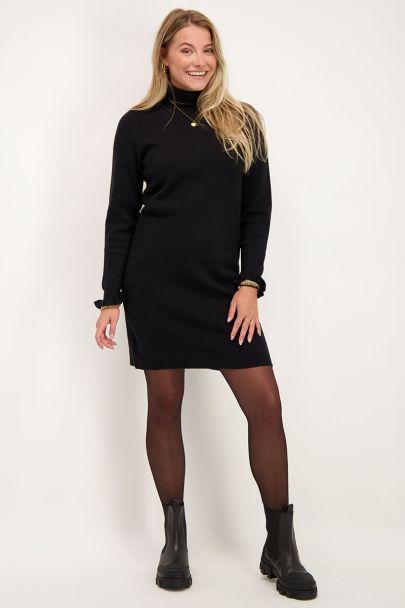 Zwarte gebreide jurk met ruffles