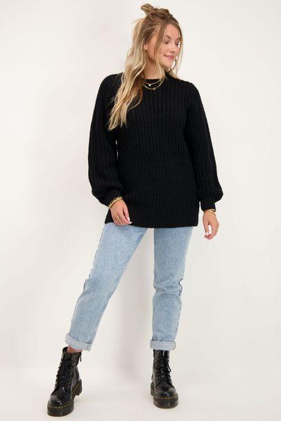 Zwarte gebreide oversized trui