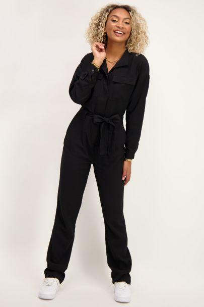 Zwarte jumpsuit met lange mouwen