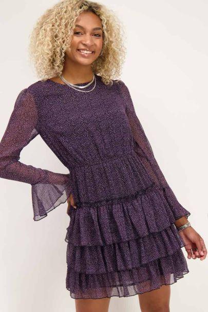 Purple dress with ruffle & little hearts