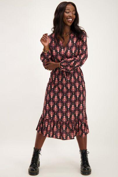 Zwarte midi jurk met boho print