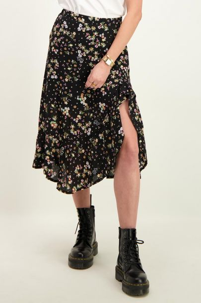 Black midi skirt with flowers
