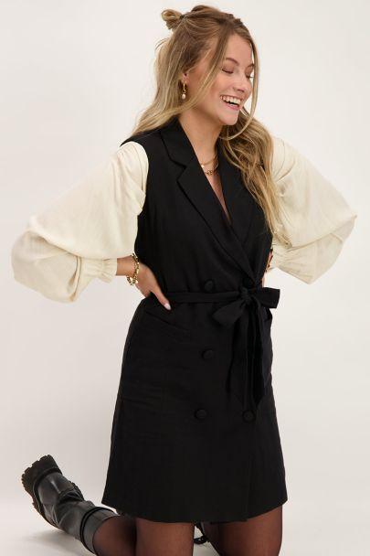 Zwarte mouwloze blazer jurk