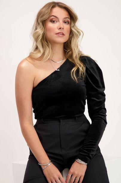 Zwarte one shoulder velvet top