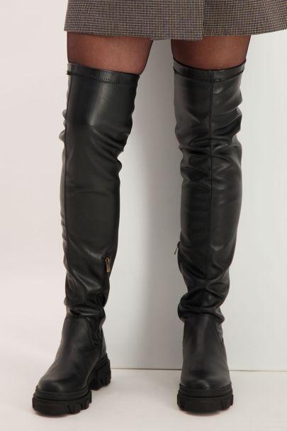 Zwarte overknee boots