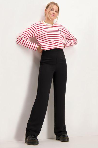Zwarte pantalon met zijrits