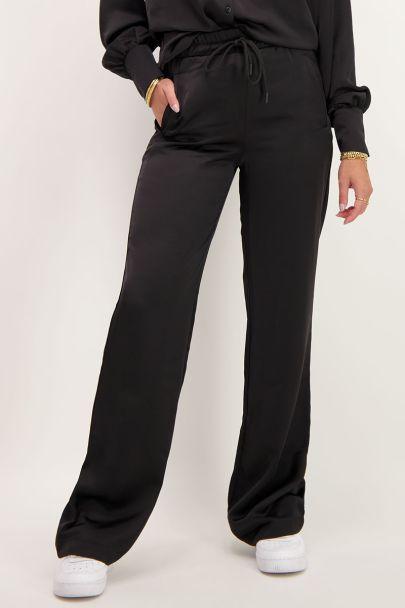 Zwarte pantalon satijnen look