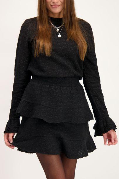 Zwart rokje met embroidery & laagjes