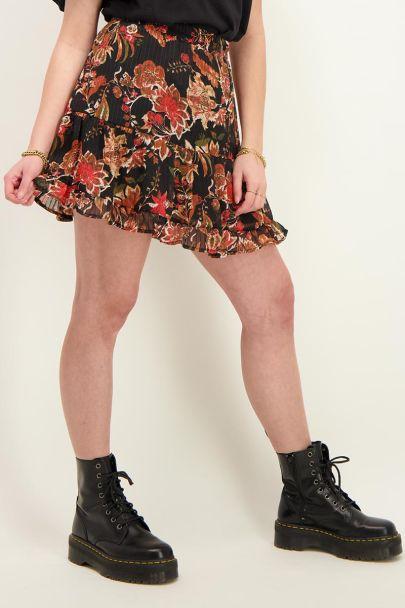 Zwarte rok met multikleur bloemen