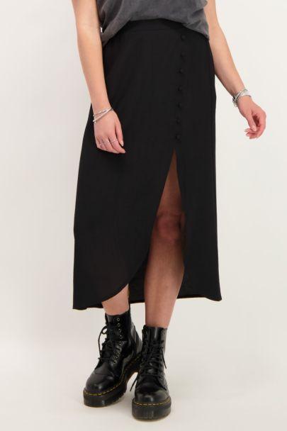 Zwarte midi rok met knoopjes
