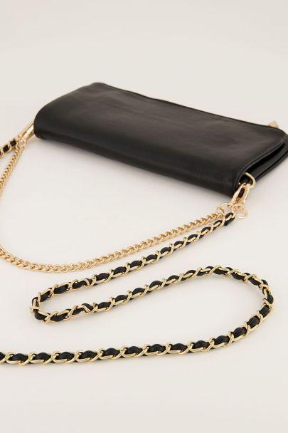 Zwarte schoudertas met goudkleurige hengsels