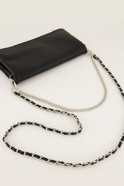Black shoulder bag with two layers