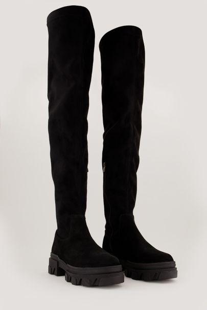 Zwarte suède overknee boots