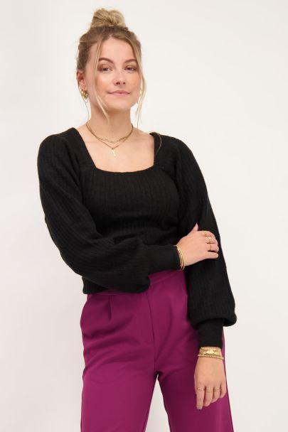 Black square neck sweater