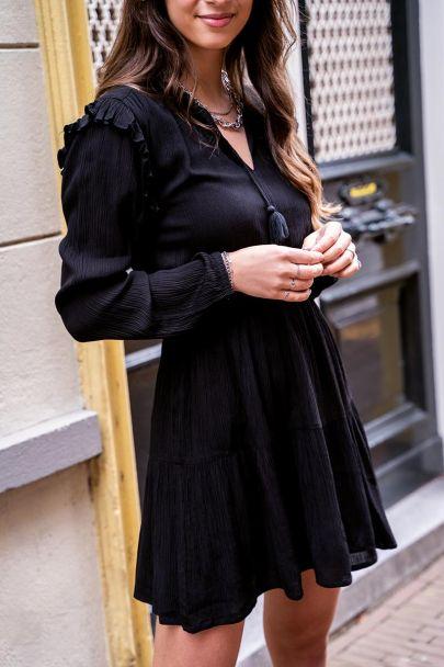 Zwarte viscose crinkle jurk