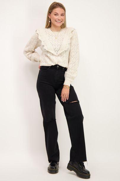 Zwarte wijdvallende jeans met scheuren