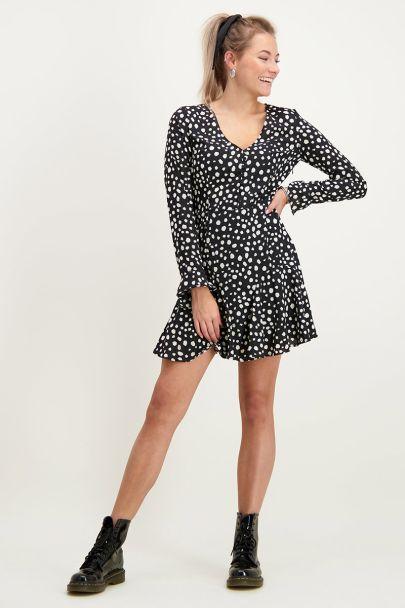 Zwarte jurk cheetah & knoopjes
